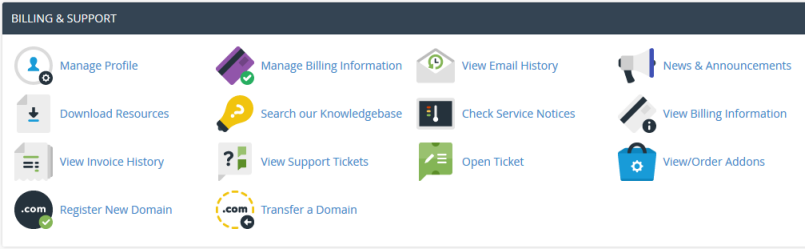 cPanel Billing & Support section